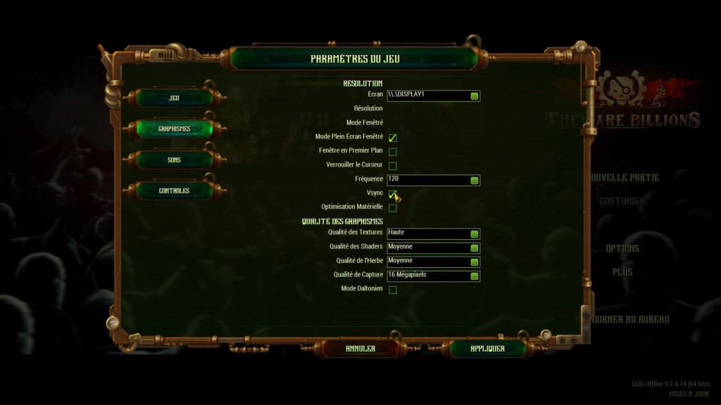 Configuration vidéo du jeu